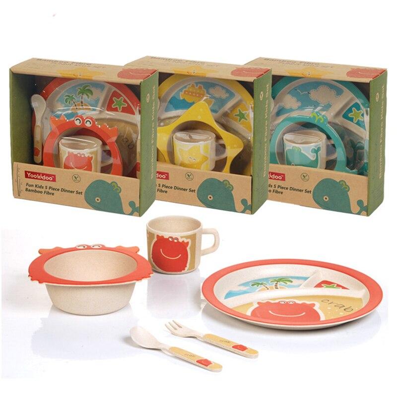 5pcs/Set Baby Tableware Set Children Bamboo Fiber Dinnerware Cup Assist  Animal Food Bowl Fork