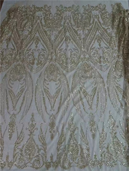 Latest gold French net lace fabric latest tulle mesh lace fabric with glitter for wedding/party dress UN86(5yards/pc)