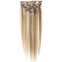 Best Sale Women Human Hair Clip In Hair Extensions 7pcs 70g 18inch Light-brown + Gold-brown