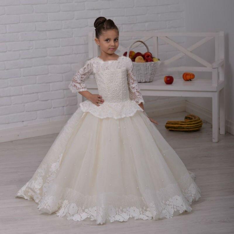 3/4 Sleeve Flower Girl Dresses Mermaid Kids Beauty Pageant Dresses Ankle-Length Flower Girl Dress White Mother Daughter Dresses