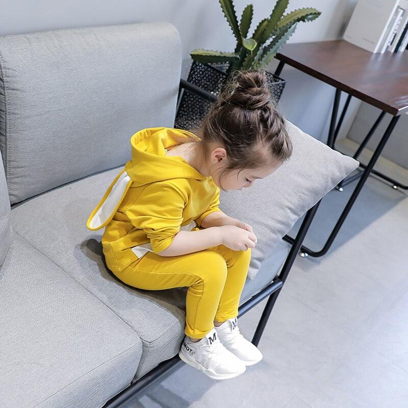 Комплекты одежды для маленьких девочек дети Обувь для девочек костюмы с заячьими ушками спортивный костюм с капюшоном Весна Осенняя одежда...