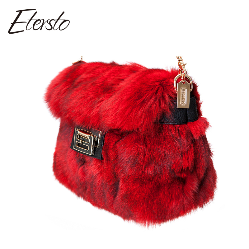 Etersto 2017 New Arrival Women Real Fur Bag Real Fox Fur Made Fashion Solid Female Fur Flap Bags Crossbody Bags Real Fur handbag 2017 winter new clothes to overcome the coat of women in the long reed rabbit hair fur fur coat fox raccoon fur collar