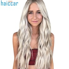White Women False wig Mix Colors Gradient Long Curly Synthetic Wavy Wig Full Lace human party Hair Accessories: Dec18(China)