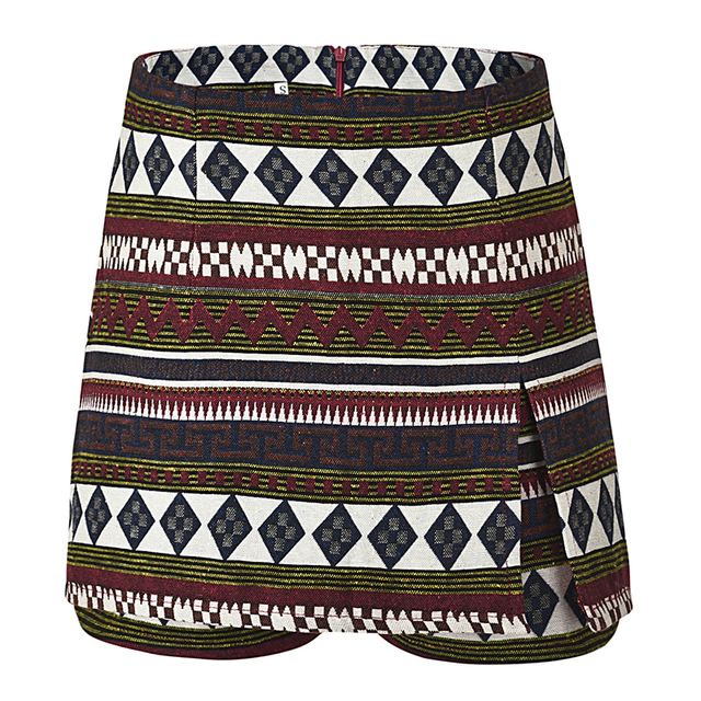 Casual Geometric Print Boho Shorts