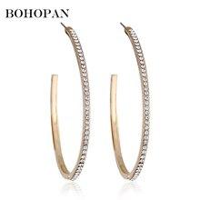 hot deal buy top trendy earrings with rhinestone circle earrings simple earrings big circle gold color hoop earrings for women christmas
