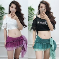 Belly Dance Skirt Silver Line Oriental Dance Short Hip Scarf Carnival Sexy Indian Clothes For Women Exotic Dancewear DNV10135