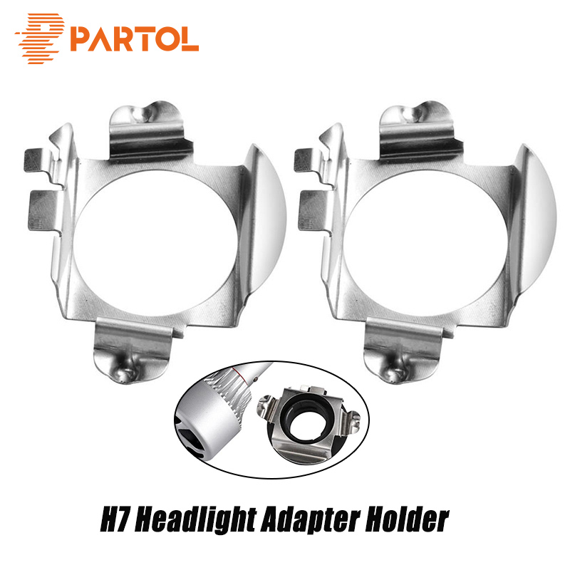 2x H7 Led Adapter Base Headlight Bulb Special Metal Clip