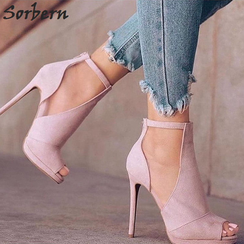 Sorbern Pink Ankle Strap Open Toe High Heel Pumps Multi Colors Stiletto Womens Heels Shoes Plus Size High Heels Pumps 12Cm цена