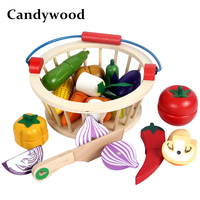 Candywood Mother garden Wooden Basket Kitchen Toys Cutting Fruit Vegetable Play miniature Food Kid baby early education food toy