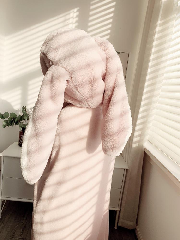 Cute Pink Comfy Blanket Sweatshirt Winter Warm Adults and Children Rabbit Ear Hooded Fleece Blanket Sleepwear Huge Bed Blankets 130