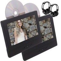 2 PCS Car DVD Player+IR Headphone,8'' Headrest DVD Player Monitor Vehicle Rear Seat Entertainment System SD USB Remote IR Output