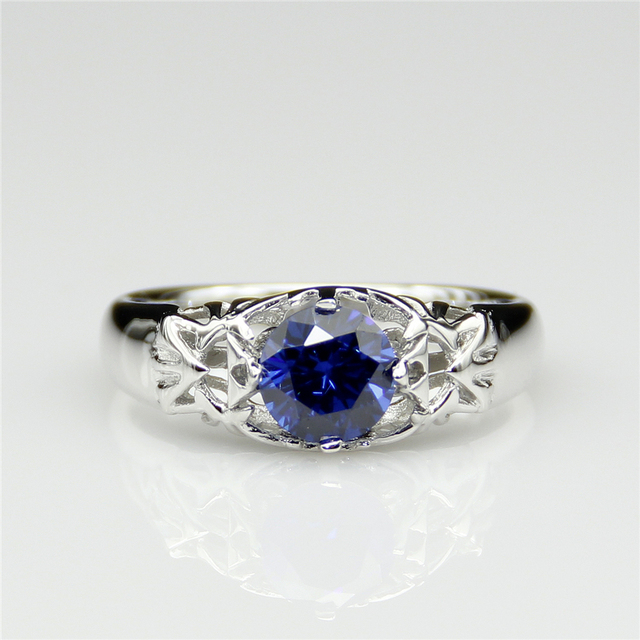 Legend of Zelda Ring Inspired Tri-force Round 0.8ct Simulated Blue Sapphire Sterling Silver Ring Game Plate Platinum Ring