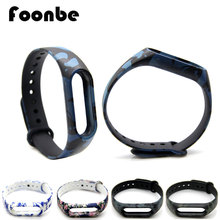 1pcs Blue Rose Flora Camflouge Replacement Band For Xiaomi 2 for Miband 2 Smart Wristband Silicone Strap Belt Bracelet