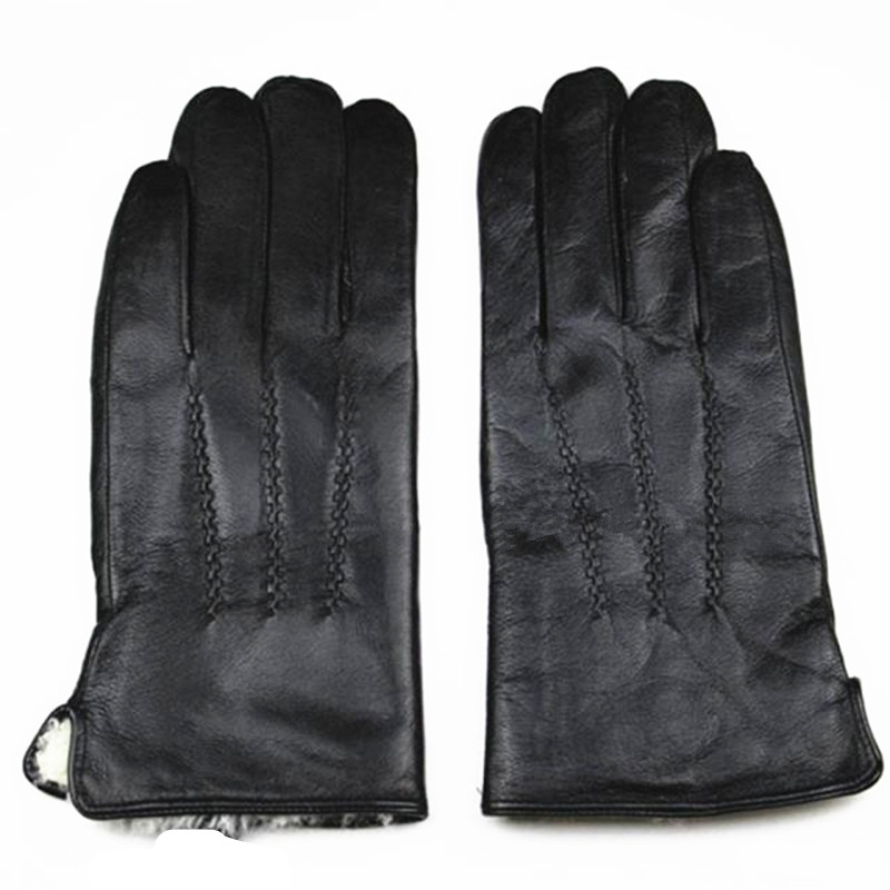 2017 new <font><b>men</b></font> genuine Leather <font><b>Gloves</b></font> Thick Warm Lamb Lining Winter Wind And Cold Stripes Style Sheepskin Discount Price Direct