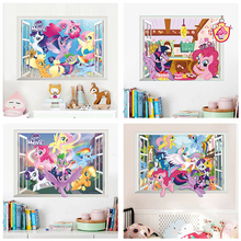 Lovely Unicorn Pony 3d Window Wall Stickers Home Decoration Anime Animal Mural Art Kids Room Decals Cartoon  Movie Poster