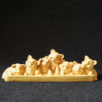 Chinese Gifts a group of piglets statue wood Pet Lucky Pig sculpture craft miniature Crafts Home decorations new year