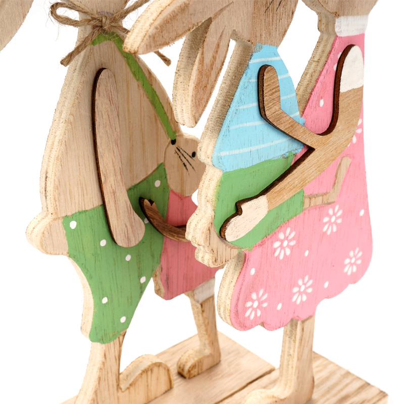 Easter decoration 1 pair Easter rabbits family standing UOBYCR Easter gift toy beautiful bunny crafts Holiday Decoration in Party DIY Decorations from Home Garden