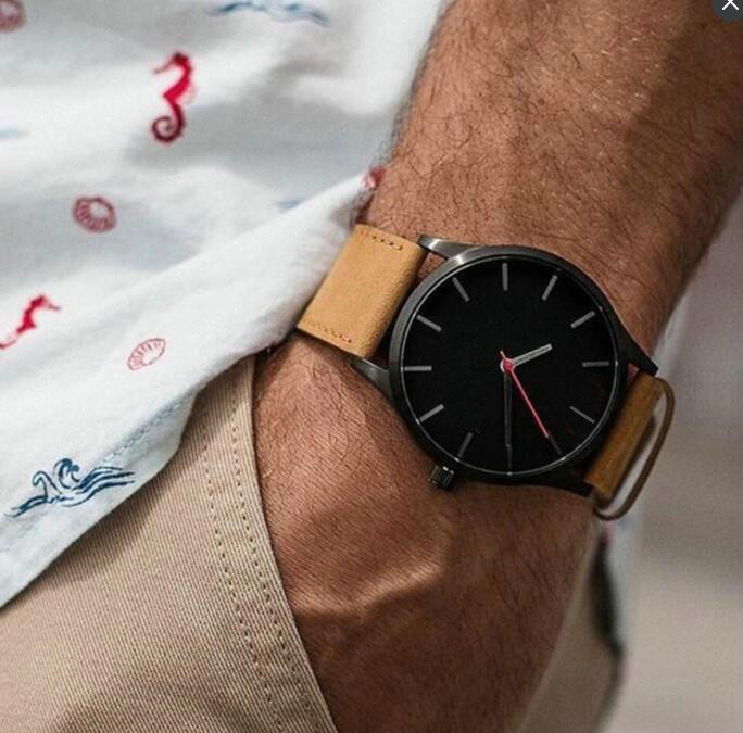 Reloj 2019 Mode Grosse Zifferblatt Militar Quarz Manner Uhr Leder