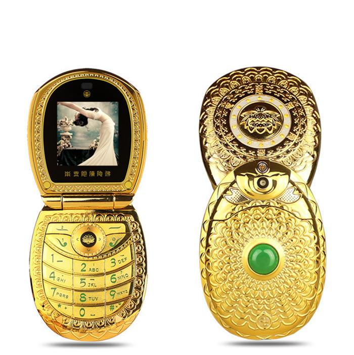 Flip Russian Keyboard Arabic Lotus Flower Jade Buddha FM MP3 MP4 DV Luxury Women Dual Sim