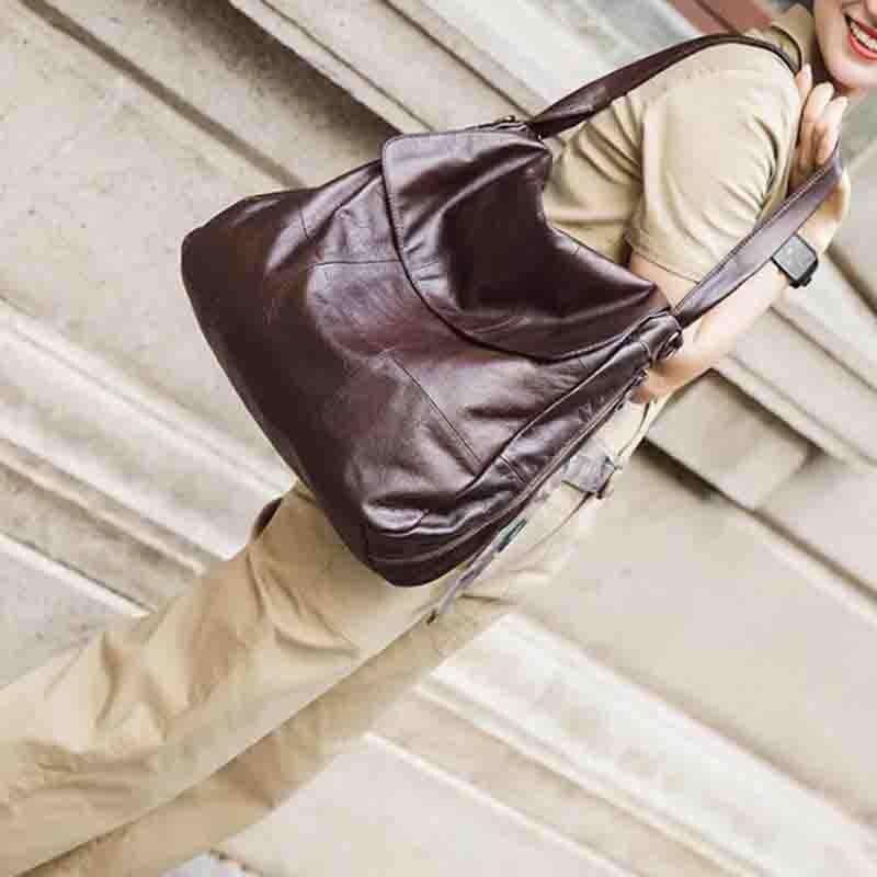 NIUBOA Women Shoulder Bags Large Capacity Women Handbags High Quality 100% Genuine Leather Women Bags Big Casual Tote Bags