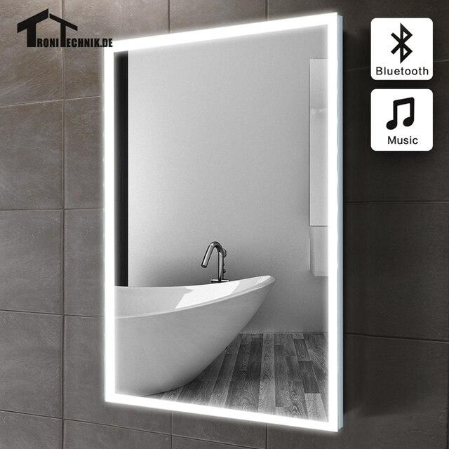 60X80 Cm Bluetooth Led Lumineux Miroir De Salle De Bain Dans Salle