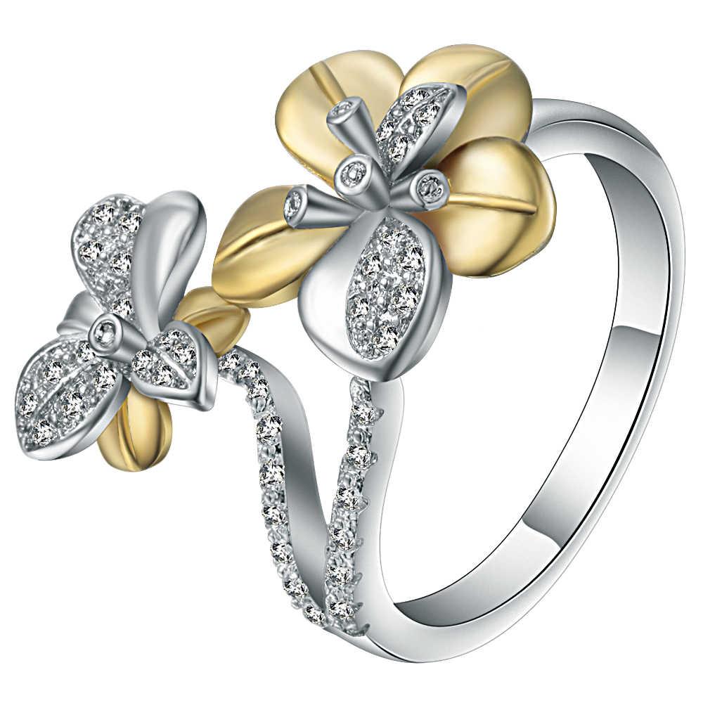Кольцо женское золотистое/серебристое с цветком Нарцисса