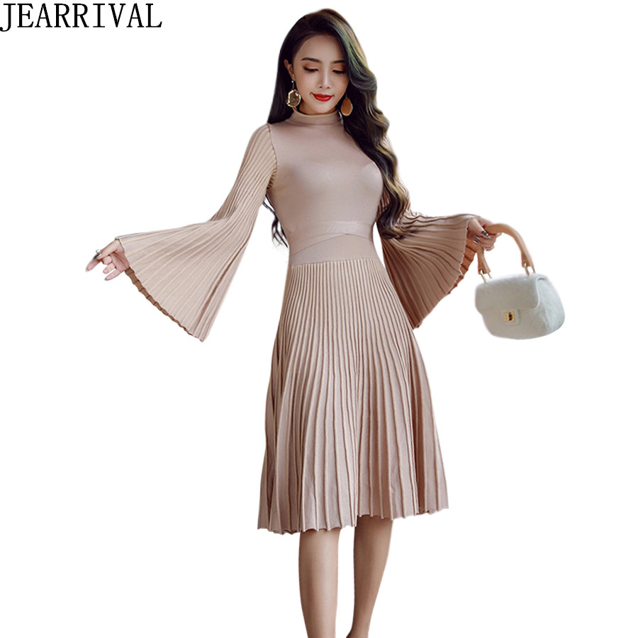 2018 New Fashion Spring Dress Women Elegant Flare Sleeve Turtleneck Solid Color Pleated Casual