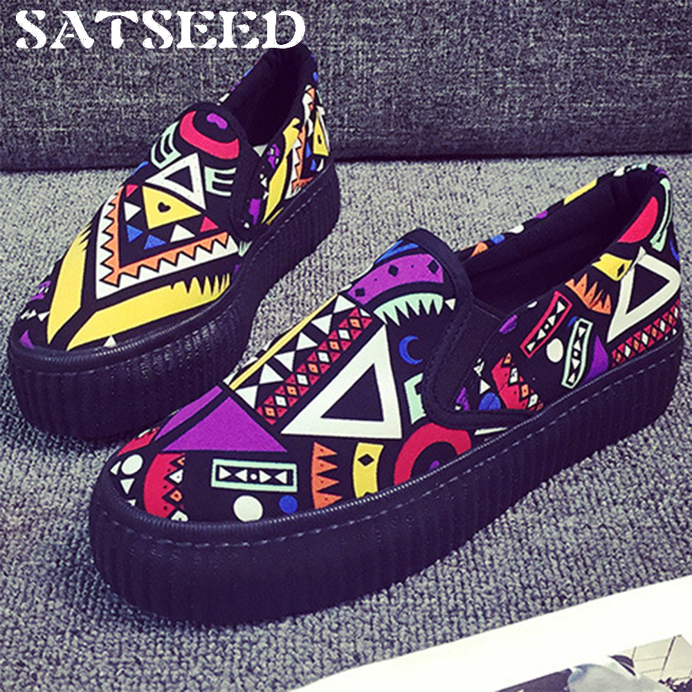 Canvas Shoes Women Autumn 2018 Women Vulcanize Shoes Graffti Flat Shoes Zipper Slip-on Women Spring Shoes Causal Fashion New spring and autumn new 2015 women shoes serpentine surface women flat slip on higher fashion bost shoes comfortable loafers