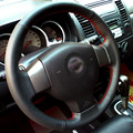 Black Artificial Leather DIY Hand-stitched Steering Wheel Cover for Old Nissan Tiida Livina Sylphy Note