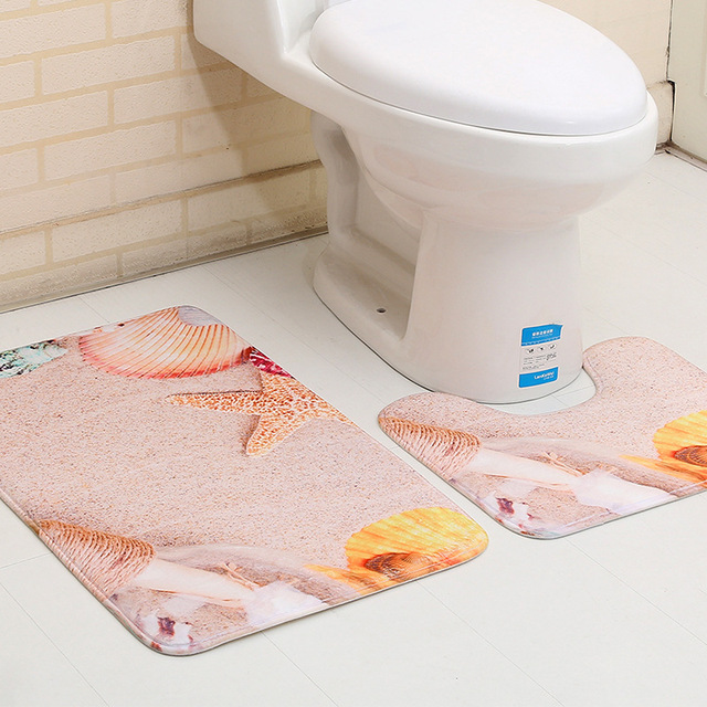 2pcs Set Anti Slip Bath Rugs Washable Bathroom Floor Mat Non