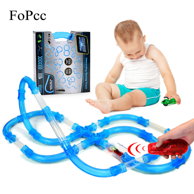 DIY Kid Pipe Toy Racing Magic Track Set Remote Control Speed Pipes Car Trucks LED Flash Light Vehicle Building Tube Railway Gift