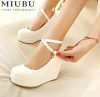 MIUBU White Wedges Shoes Pumps For Women Wedges High Heels Wedges Pumps White High Heels Shoes