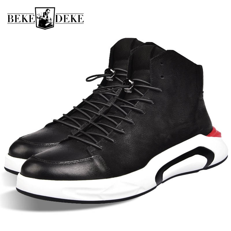 Men Black Casual Shoes Lace Up Round Toe Genuine Leather Male Footwear Students Breathable Zapatos 2018 New Brand High Top Shoes ege brand handmade genuine leather spring shoes lace up breathable men casual shoes new fashion designer red flat male shoes