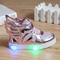 2016 New 2-7a crianças sapatos da moda asas meninos meninas sapatilha primavera outono crianças conduziu a iluminação luminosa criança sapatos casuais unisex