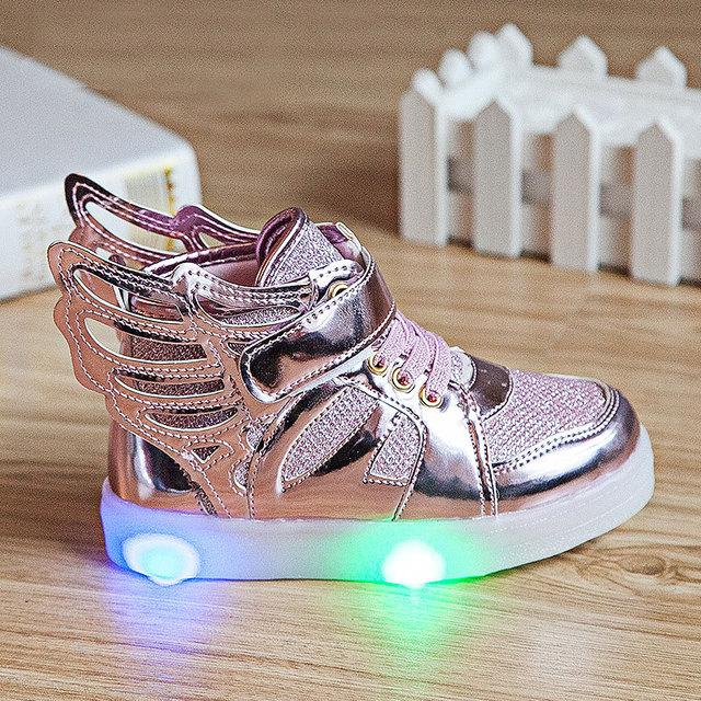 2016 nueva 2-7Y niños alas moda zapatilla de deporte niños niñas luminoso niños del otoño del resorte llevó la iluminación del niño calzados informales unisex
