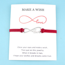 Infinity Love Antique Silver Charm Card Bracelets Red Black Pink Royal Blue Suede Women Men Boy Girl Unisex Jewelry Gift
