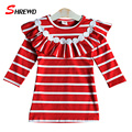 Dress Girl Kids 2016 Autumn New Fashion Striped Lace Kids Dresses For Girls Long Sleeve Sweet Casual Children Clothing 6326W