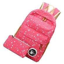 VSEN Hot 2 pcs/set Fashion Star Women Men Canvas Backpack School Bag For girl Boy Teenagers Casual Travel bags Rucksack