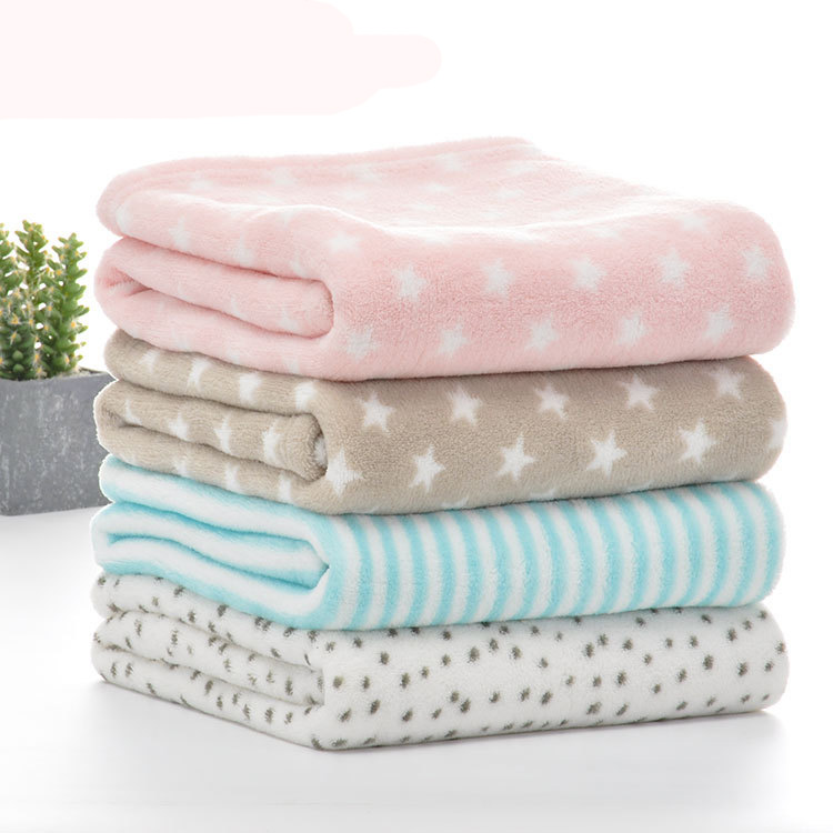New Plaid Pink Comfort Baby Blanket Coral Fleece Throw Blankets Super Soft Cartoon Kids Children Bedding Set 75x100cm