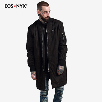 Eosnyx Gothic Mens Long Trench Coat Veste Homme Longue Casual Jacket Men Long Black 2017 English Style Windbreaker
