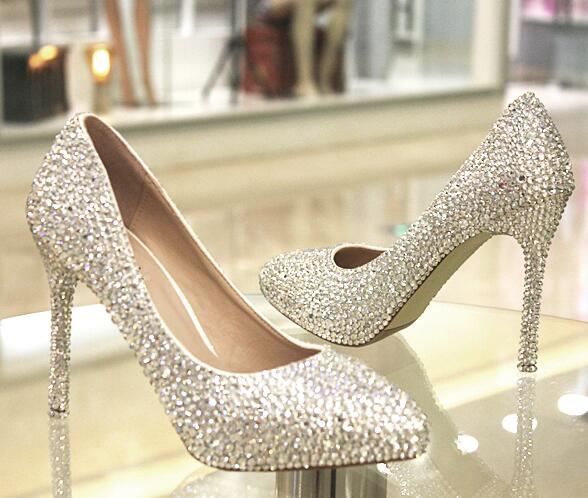 ФОТО Spring, summer, BRAND new crystal shoes TG510 rhinestone THIN HEEL silver STONES high-heeled pointed PARTY wedding shoes
