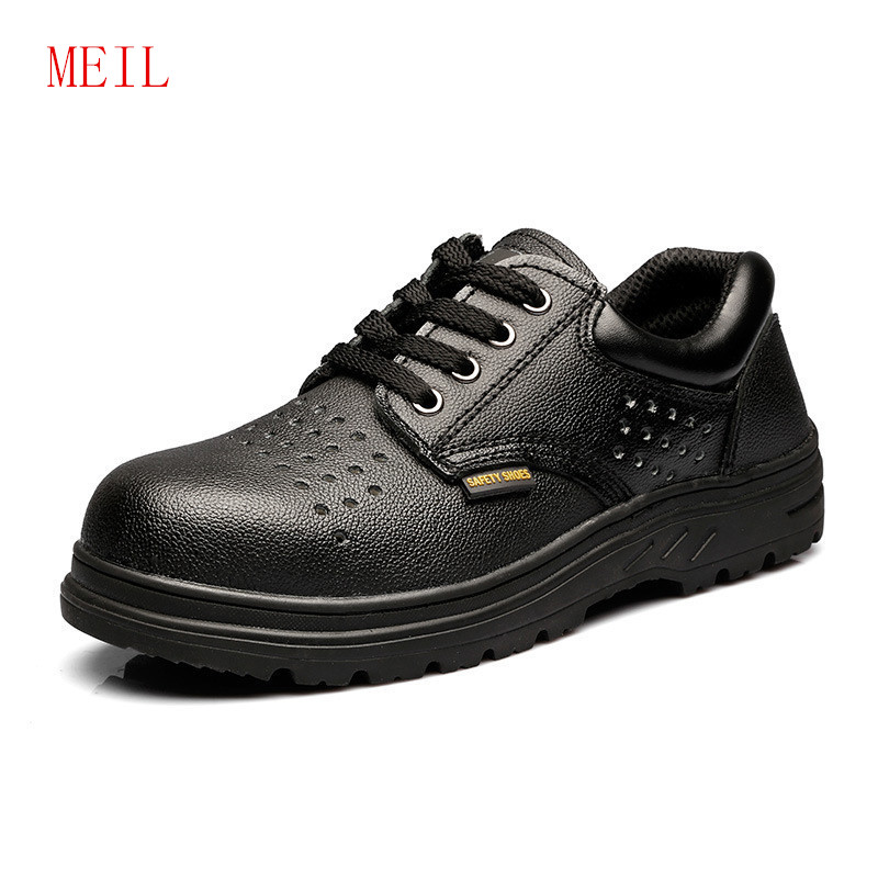 MEIL Black Safety Shoes for Men Genuine Leather Steel Toe Work Ankle Boots Safty Military