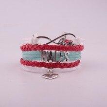 Drop Shipping Unisex Infinity National Flag Bracelet Heart Charm Leather Bracelet & Bangles for Women Men Jewelry