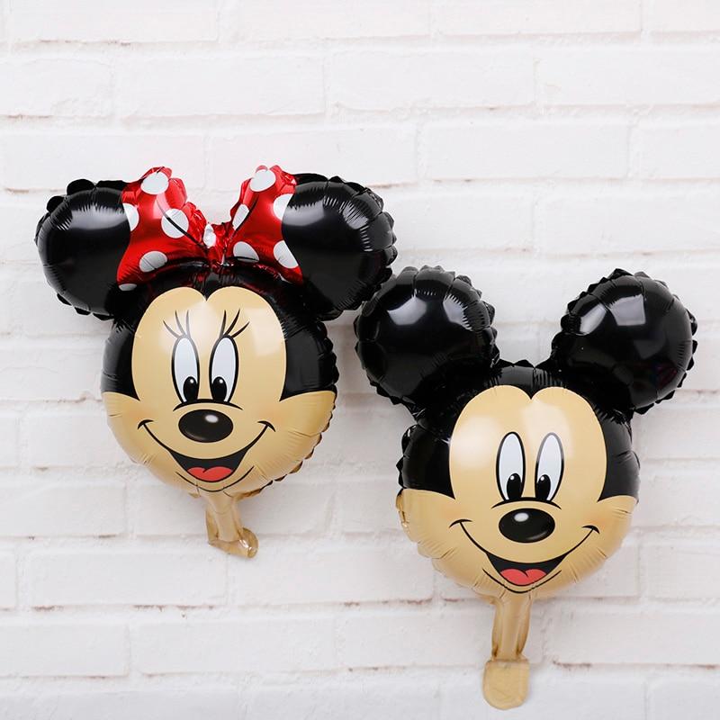 Mini Mickey Minnie Head Foil Balloons 50pcs Disney Cartoon Air Baloes Birthday Mickey Mouse Party Decorations Kids Toys Gifts