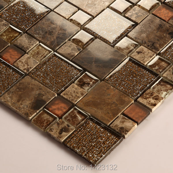 Crystal Glass Tile Backsplash Kitchen Brown Glass U0026 Stone Blend Mosaic  Tiles Bathroom Wall 632 Cream ...