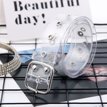 Novelty Transparent waistband resin plastic belt ladies round buckle pin buckle