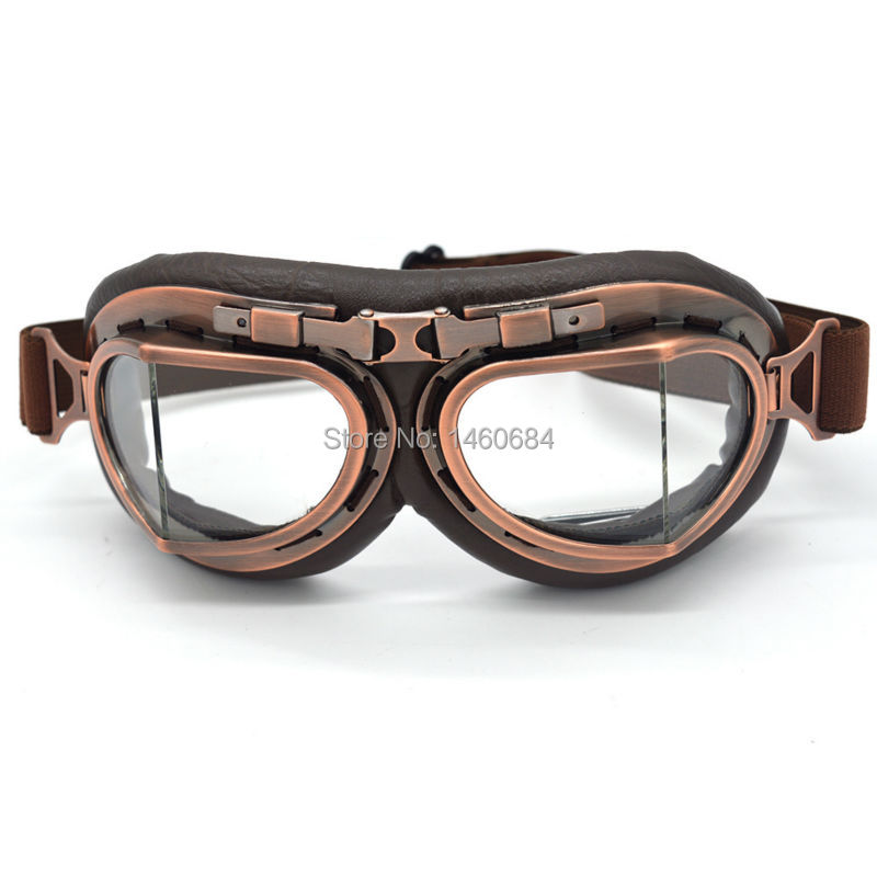 lowest price New Hot Retro Pilot Motocross Bikes Cruiser Motorcycle Cycling Goggles Copper Frame Multicolor Lens