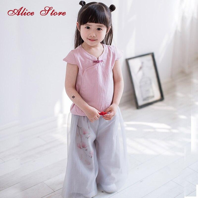 2018 nouveaux vêtements pour enfants filles modèles d'été bébé à manches courtes chemise chinoise fil jambe large pantalon costume deux pièces ensembles