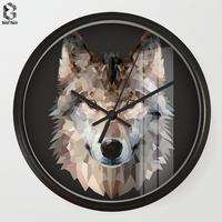 8.7 inch Art Wall Clock of Geometric Wolf Silent Quartz Non Ticking Clock Living Room Office Hand Simple Concise Home Decor