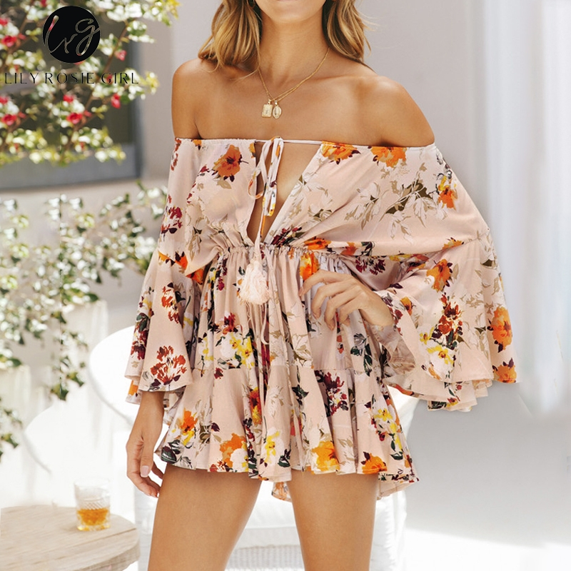 Conmoto Girl 2018  Off Shoudler Floral Print Summer Romper Sexy Beach Playsuit Women Short Ruffle Jumpsuit Lace Up Overalls